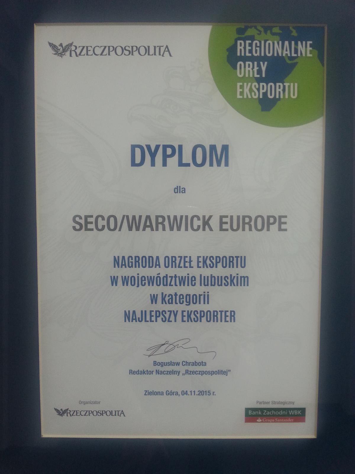 """Orzeł Eksportu """"Rzeczpospolitej"""" dla SECO/WARWICK"""