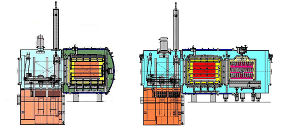 Sketch of a two- and three-chamber vacuum furnace from SECO/WARWICK