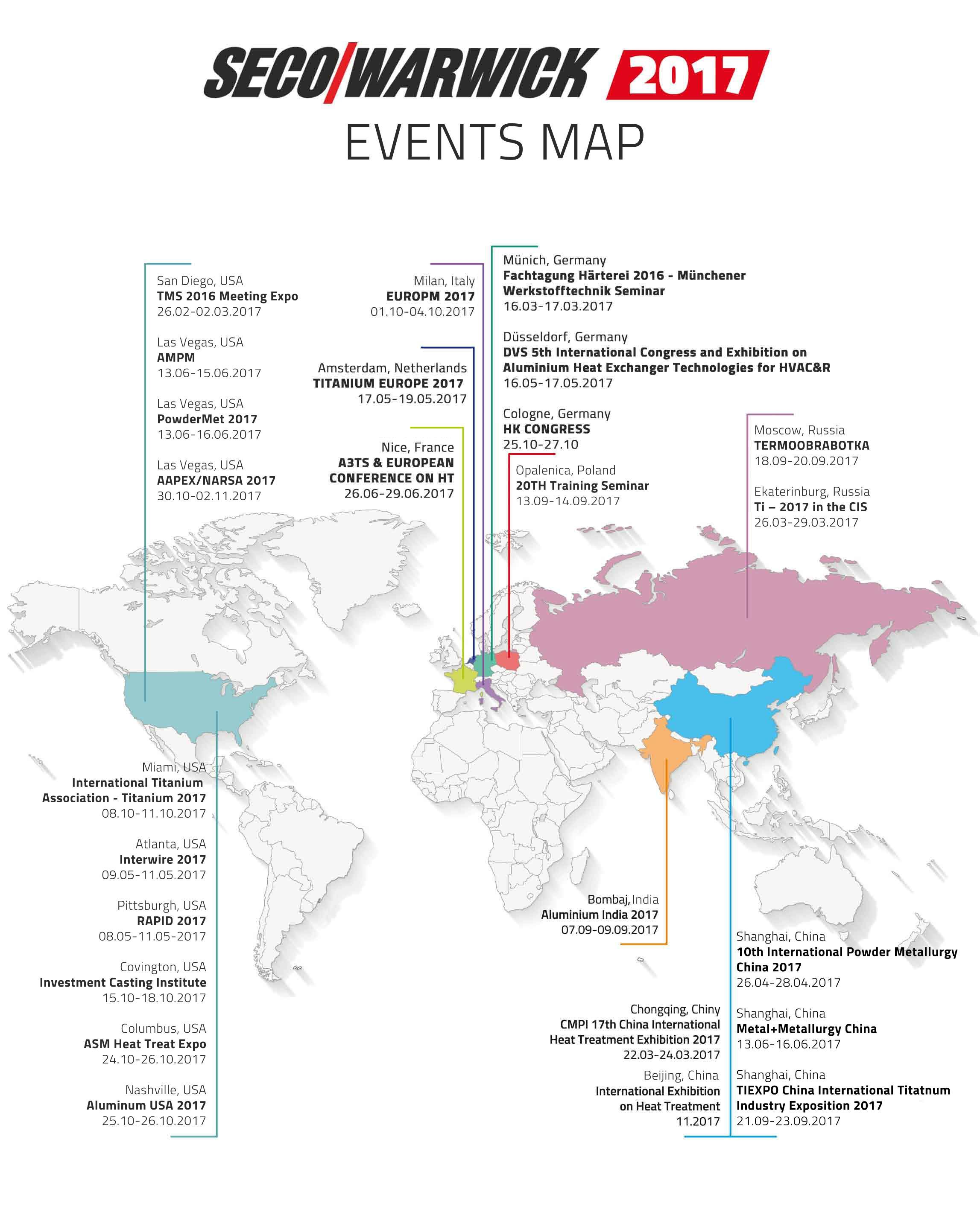 2017 map of Seco/Warwick events